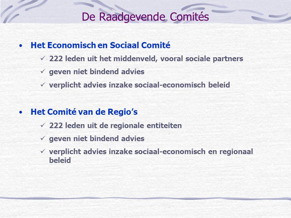 De Raadgevende Comités Het Economisch en Sociaal Comité 222 leden uit het middenveld, vooral sociale partners geven niet bindend advies verplicht advi