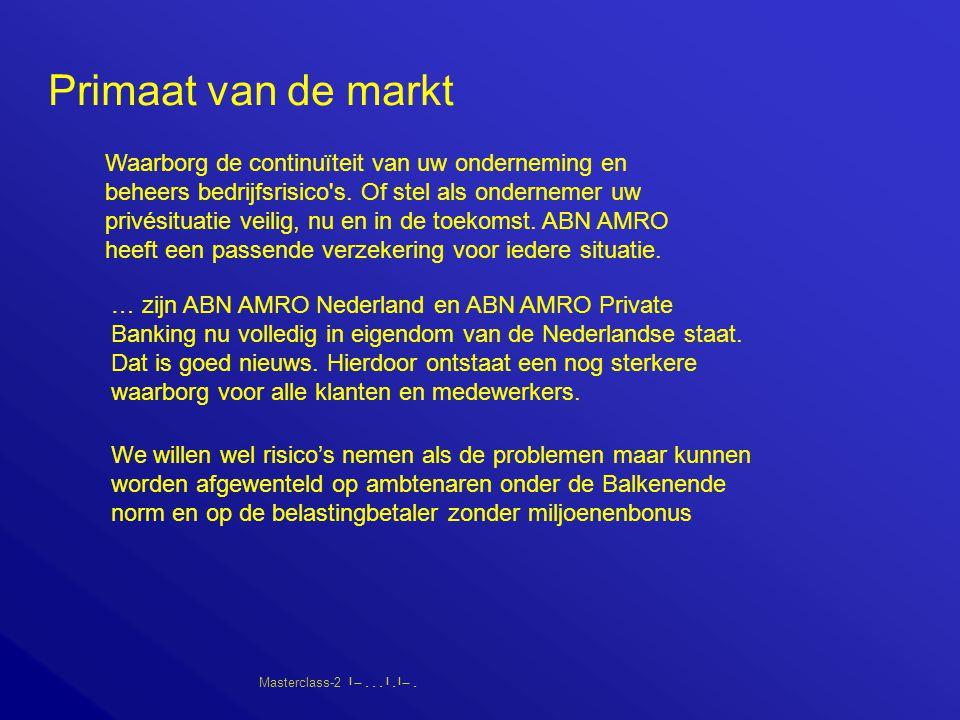 Masterclass-2       Primaat van de markt Waarborg de continuïteit van uw onderneming en beheers bedrijfsrisico s.