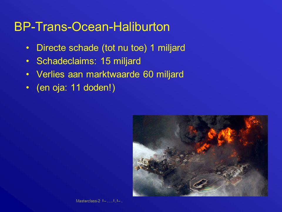 Masterclass-2       BP-Trans-Ocean-Haliburton Directe schade (tot nu toe) 1 miljard Schadeclaims: 15 miljard Verlies aan marktwaarde 60 miljard (en oja: 11 doden!)