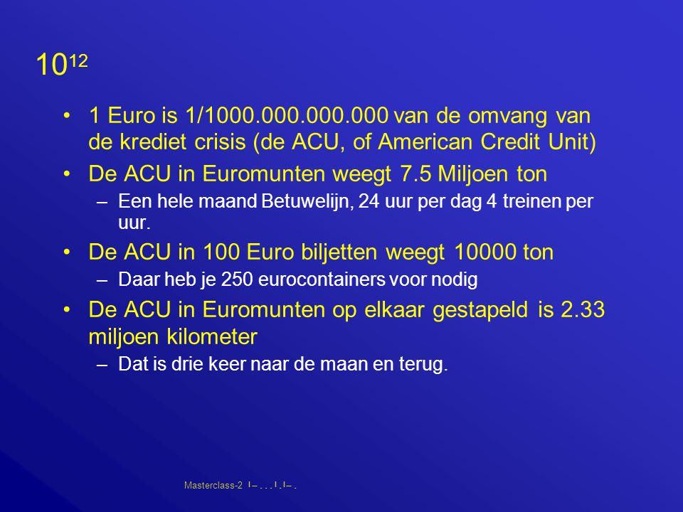 Masterclass-2       10 12 1 Euro is 1/1000.000.000.000 van de omvang van de krediet crisis (de ACU, of American Credit Unit) De ACU in Euromunten weegt 7.5 Miljoen ton –Een hele maand Betuwelijn, 24 uur per dag 4 treinen per uur.