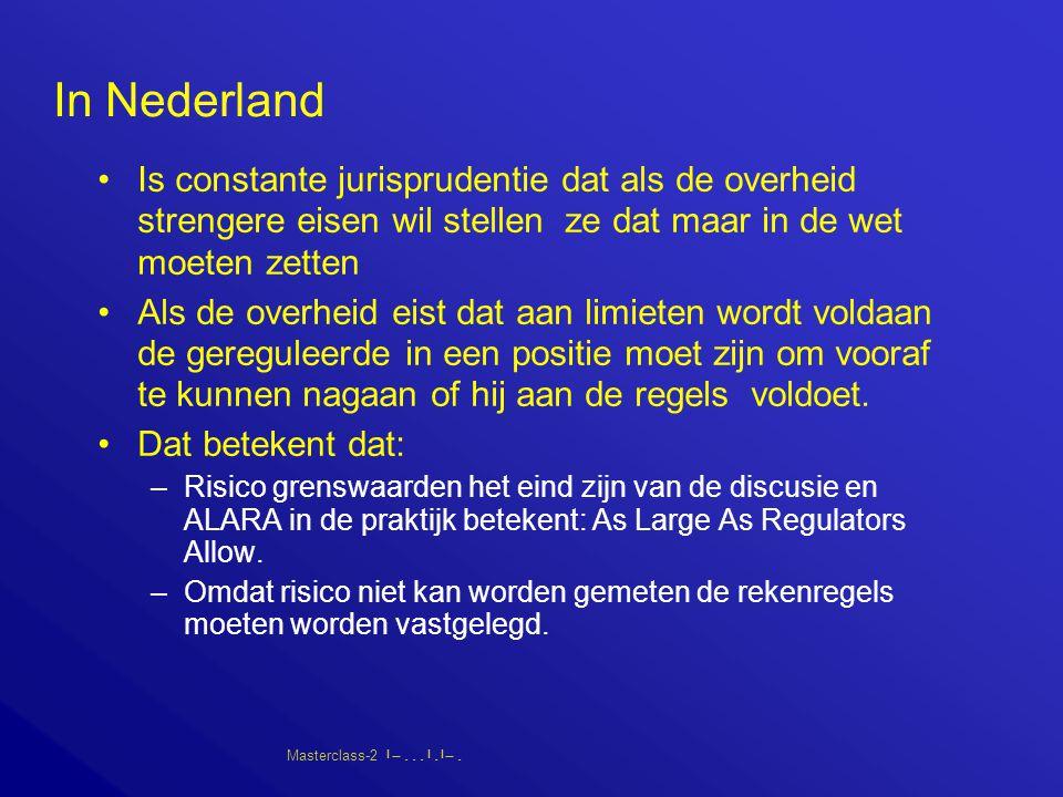 Masterclass-2       In Nederland Is constante jurisprudentie dat als de overheid strengere eisen wil stellen ze dat maar in de wet moeten zetten Als de overheid eist dat aan limieten wordt voldaan de gereguleerde in een positie moet zijn om vooraf te kunnen nagaan of hij aan de regels voldoet.