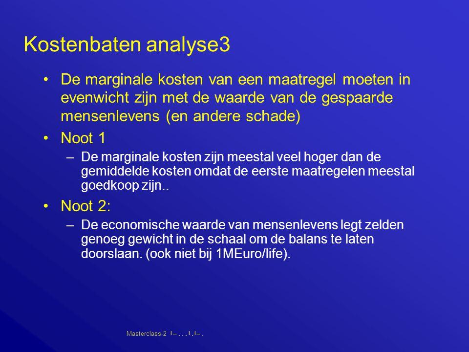 Masterclass-2       Kostenbaten analyse3 De marginale kosten van een maatregel moeten in evenwicht zijn met de waarde van de gespaarde mensenlevens (en andere schade) Noot 1 –De marginale kosten zijn meestal veel hoger dan de gemiddelde kosten omdat de eerste maatregelen meestal goedkoop zijn..