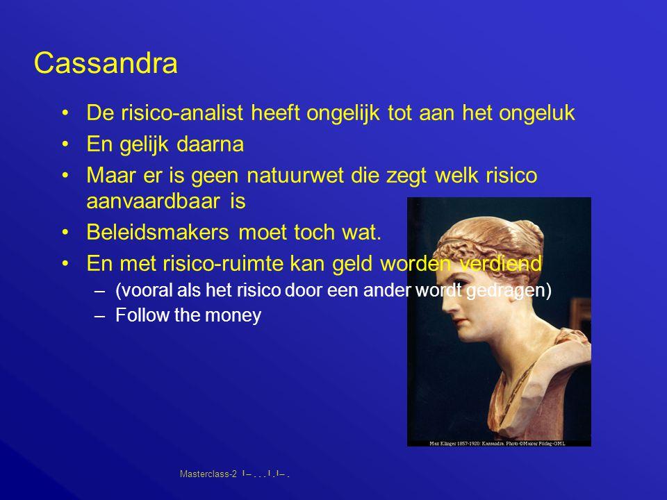 Masterclass-2       Cassandra De risico-analist heeft ongelijk tot aan het ongeluk En gelijk daarna Maar er is geen natuurwet die zegt welk risico aanvaardbaar is Beleidsmakers moet toch wat.