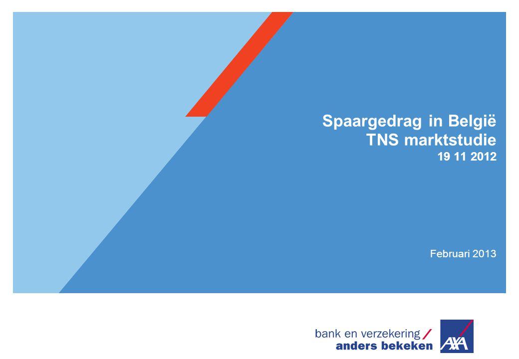 Spaargedrag in België TNS marktstudie 19 11 2012 Februari 2013