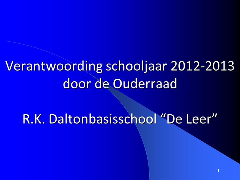 """1 Verantwoording schooljaar 2012-2013 door de Ouderraad R.K. Daltonbasisschool """"De Leer"""""""