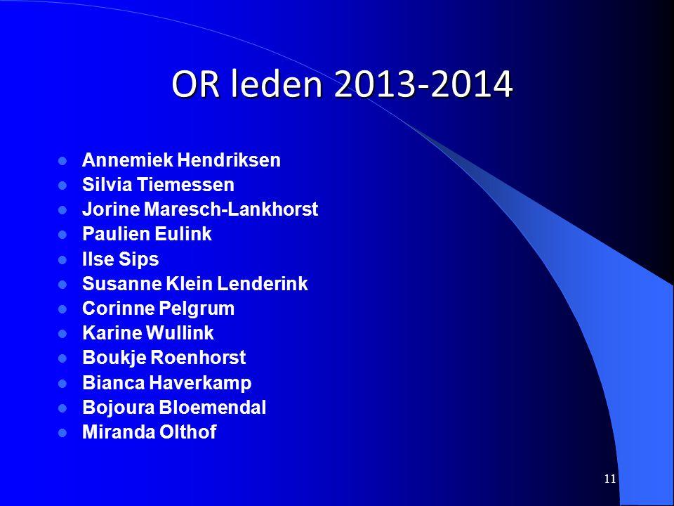 11 OR leden 2013-2014 Annemiek Hendriksen Silvia Tiemessen Jorine Maresch-Lankhorst Paulien Eulink Ilse Sips Susanne Klein Lenderink Corinne Pelgrum K