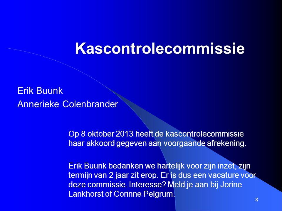 Kascontrolecommissie Erik Buunk Annerieke Colenbrander 8 Op 8 oktober 2013 heeft de kascontrolecommissie haar akkoord gegeven aan voorgaande afrekenin