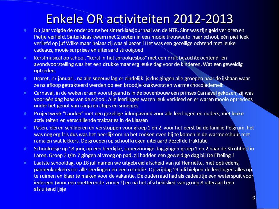 Enkele OR activiteiten 2012-2013 9 Dit jaar volgde de onderbouw het sinterklaasjournaal van de NTR, Sint was zijn geld verloren en Pietje verliefd. Si