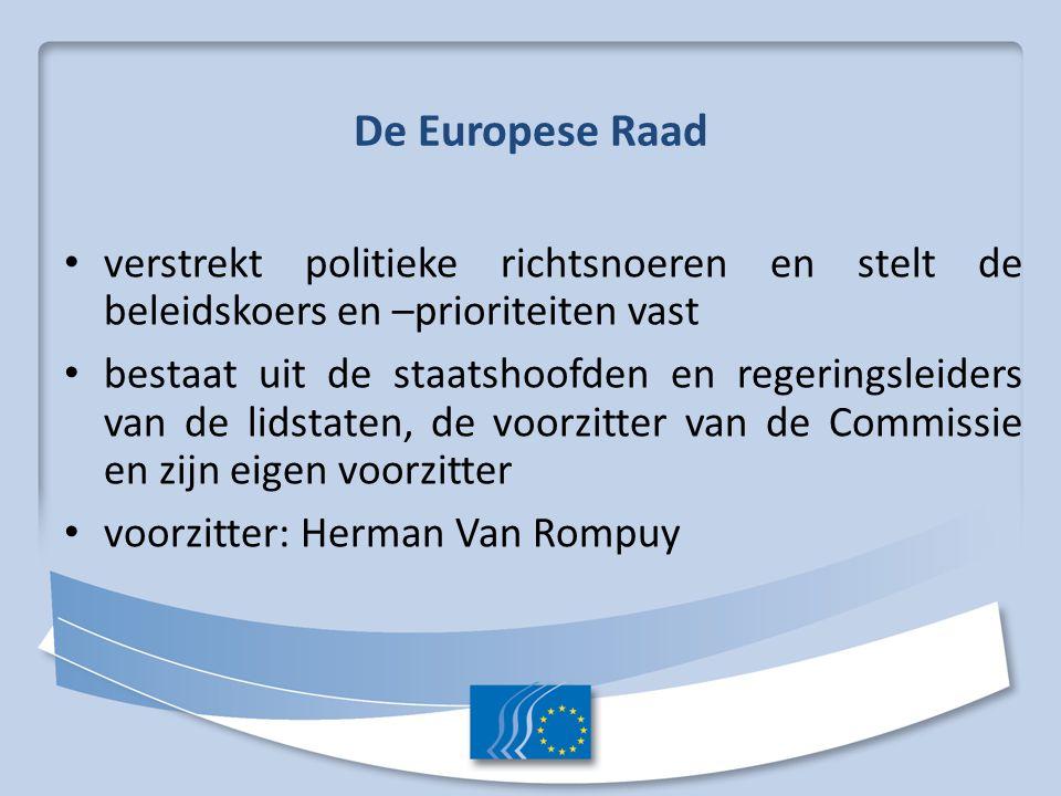 De Europese Raad verstrekt politieke richtsnoeren en stelt de beleidskoers en –prioriteiten vast bestaat uit de staatshoofden en regeringsleiders van de lidstaten, de voorzitter van de Commissie en zijn eigen voorzitter voorzitter: Herman Van Rompuy