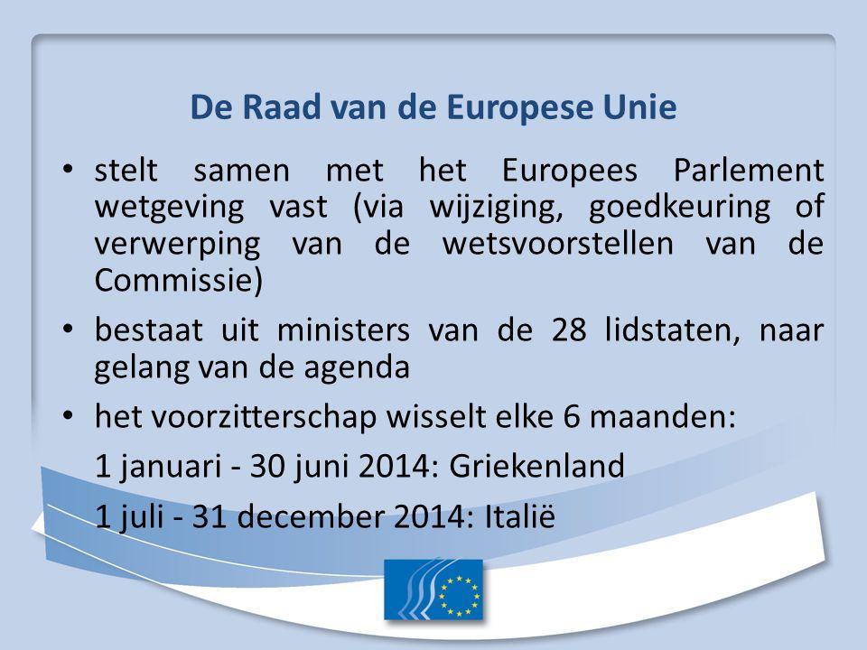 De Raad van de Europese Unie stelt samen met het Europees Parlement wetgeving vast (via wijziging, goedkeuring of verwerping van de wetsvoorstellen van de Commissie) bestaat uit ministers van de 28 lidstaten, naar gelang van de agenda het voorzitterschap wisselt elke 6 maanden: 1 januari - 30 juni 2014: Griekenland 1 juli - 31 december 2014: Italië