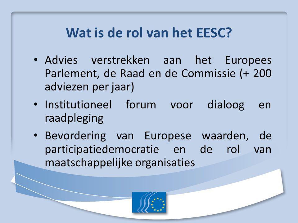 Wat is de rol van het EESC? Advies verstrekken aan het Europees Parlement, de Raad en de Commissie (+ 200 adviezen per jaar) Institutioneel forum voor