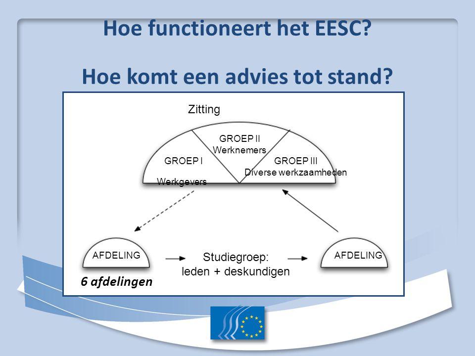 Hoe functioneert het EESC? Hoe komt een advies tot stand? 6 afdelingen Zitting GROEP II Werknemers GROEP I Werkgevers GROEP III Diverse werkzaamheden