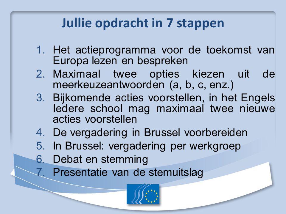1. Het actieprogramma voor de toekomst van Europa lezen en bespreken 2. Maximaal twee opties kiezen uit de meerkeuzeantwoorden (a, b, c, enz.) 3. Bijk