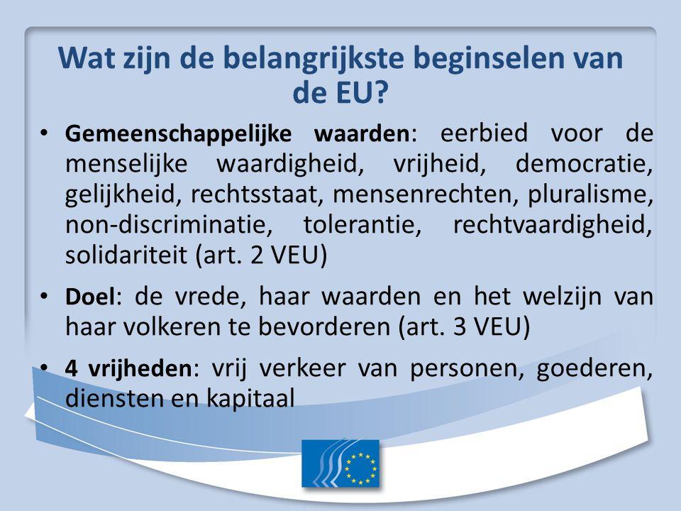 Wat zijn de belangrijkste beginselen van de EU? Gemeenschappelijke waarden : eerbied voor de menselijke waardigheid, vrijheid, democratie, gelijkheid,