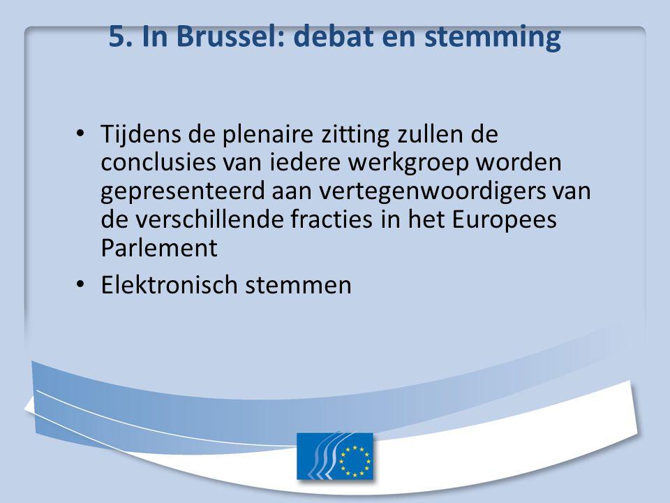 5. In Brussel: debat en stemming Tijdens de plenaire zitting zullen de conclusies van iedere werkgroep worden gepresenteerd aan vertegenwoordigers van