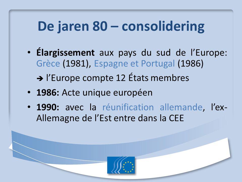 De jaren 80 – consolidering Élargissement aux pays du sud de l'Europe: Grèce (1981), Espagne et Portugal (1986)  l'Europe compte 12 États membres 198