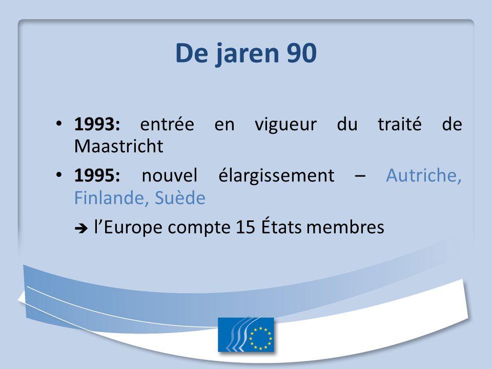 De jaren 90 1993: entrée en vigueur du traité de Maastricht 1995: nouvel élargissement – Autriche, Finlande, Suède  l'Europe compte 15 États membres