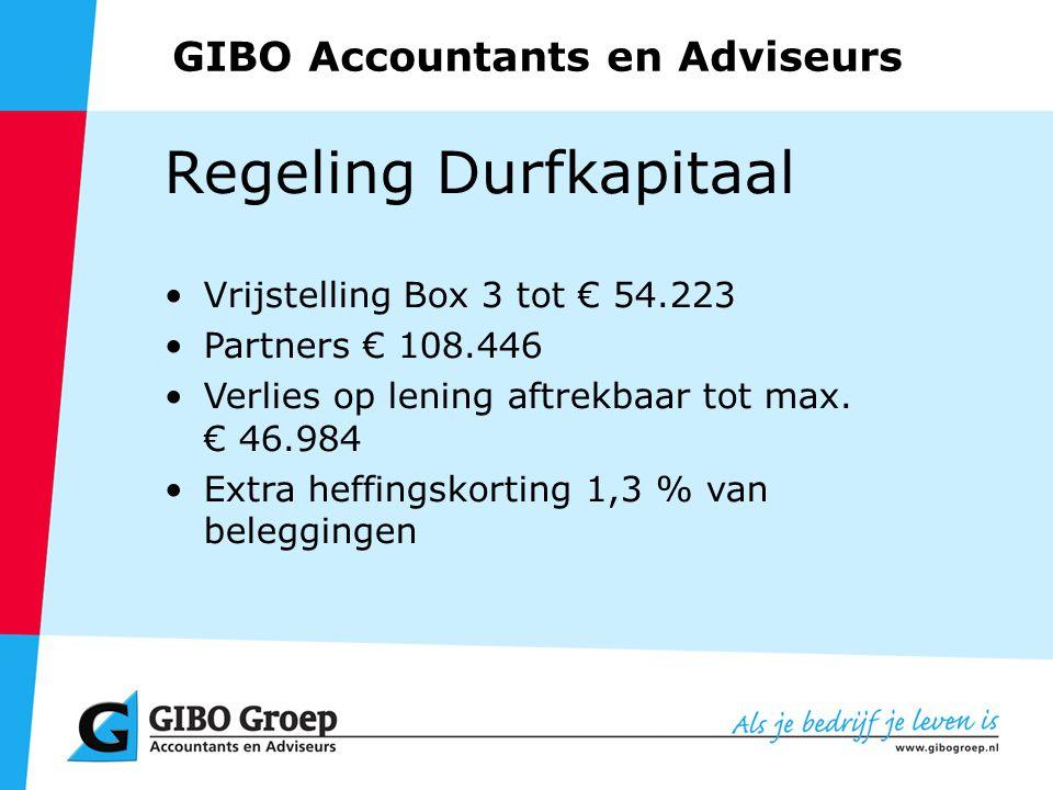 GIBO Accountants en Adviseurs Regeling Durfkapitaal Vrijstelling Box 3 tot € 54.223 Partners € 108.446 Verlies op lening aftrekbaar tot max.