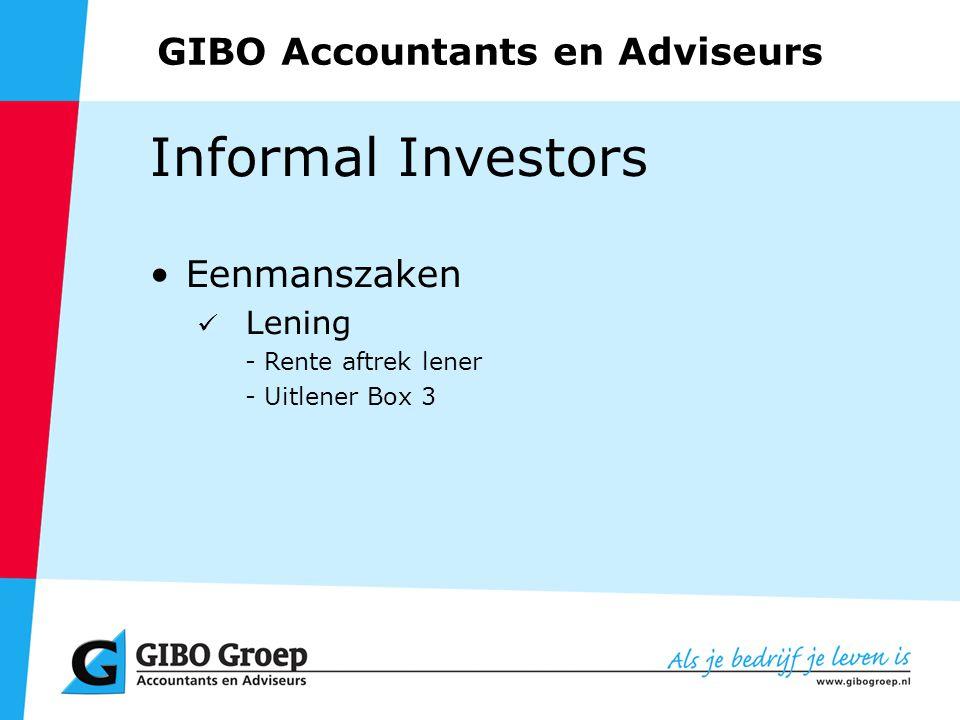 GIBO Accountants en Adviseurs Informal Investors Eenmanszaken Lening - Rente aftrek lener - Uitlener Box 3