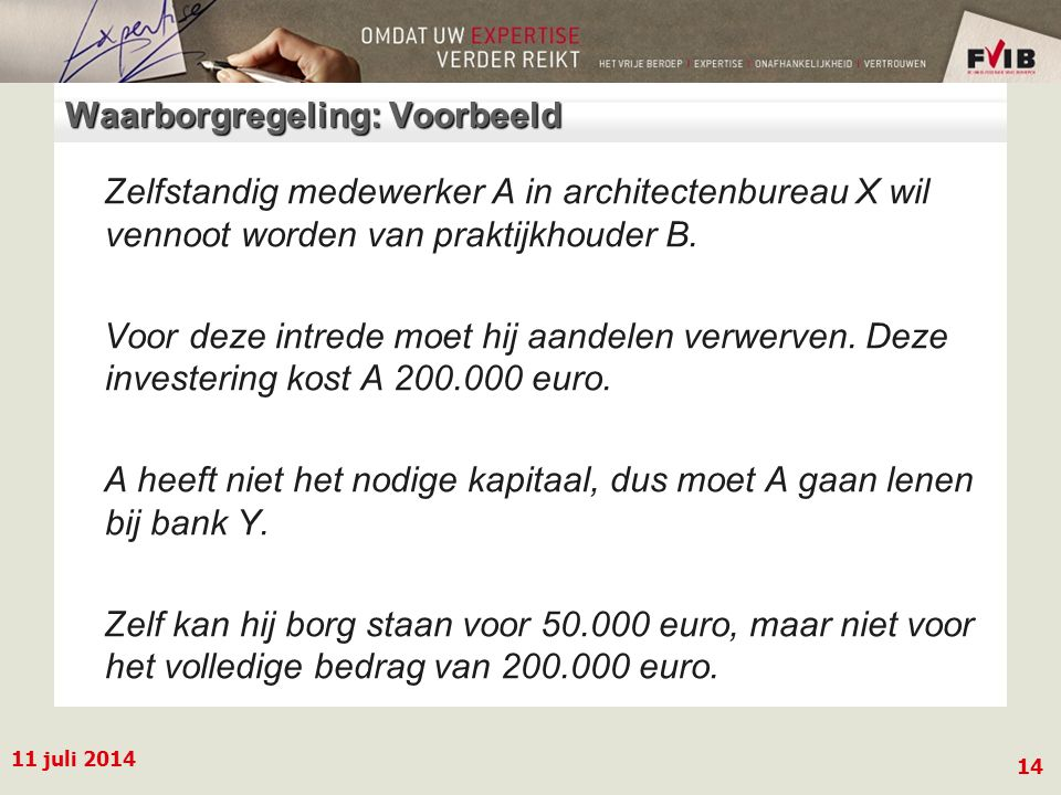 11 juli 2014 14 Waarborgregeling: Voorbeeld Zelfstandig medewerker A in architectenbureau X wil vennoot worden van praktijkhouder B.