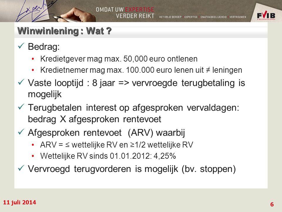 11 juli 2014 6 Winwinlening : Wat . Bedrag: Kredietgever mag max.