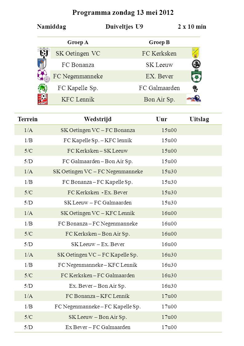 Programma zondag 13 mei 2012 Namiddag Duiveltjes U9 2 x 10 min TerreinWedstrijdUurUitslag 1/ASK Oetingen VC – FC Bonanza15u00 1/BFC Kapelle Sp.