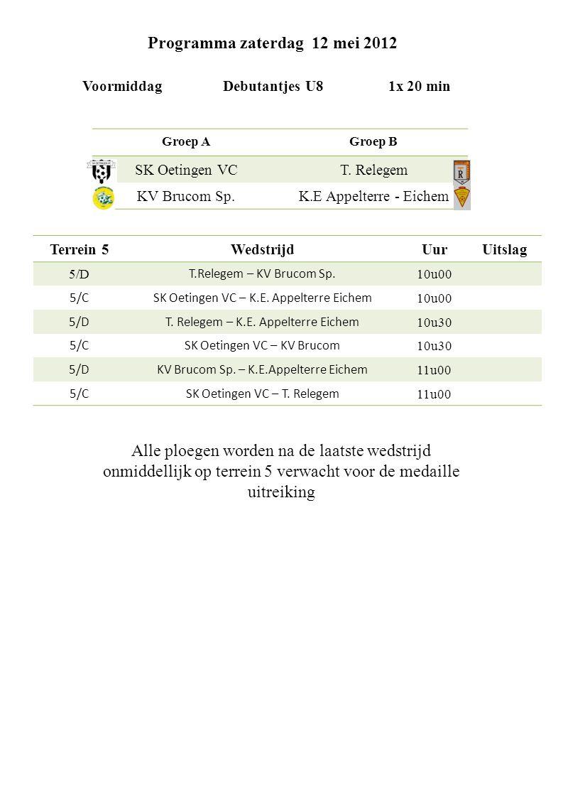 Programma zaterdag 12 mei 2012 Voormiddag Debutantjes U8 1x 20 min Groep AGroep B SK Oetingen VCT.