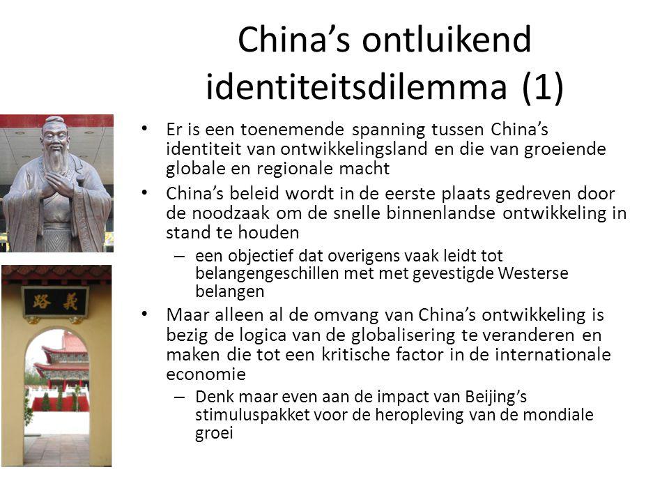 China's ontluikend identiteitsdilemma (1) Er is een toenemende spanning tussen China's identiteit van ontwikkelingsland en die van groeiende globale e
