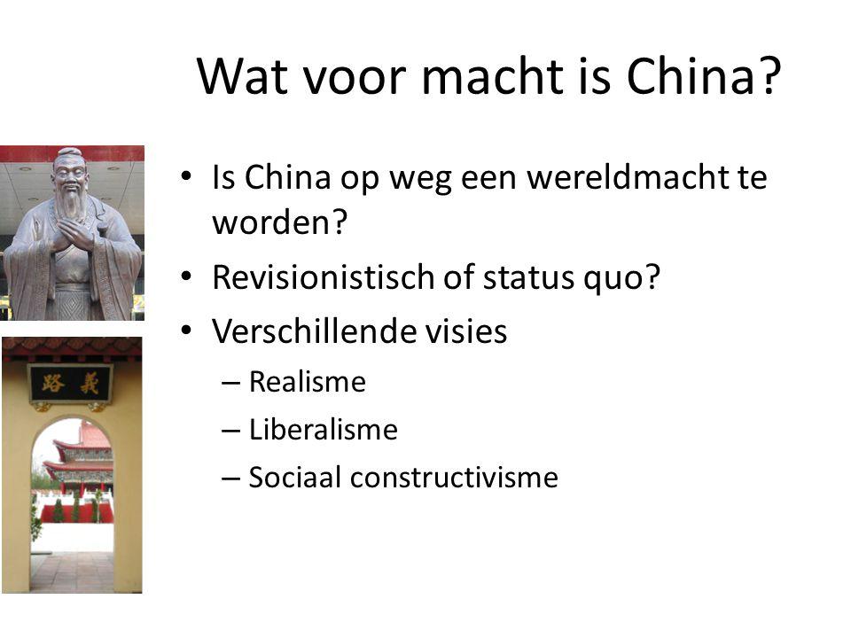Wat voor macht is China? Is China op weg een wereldmacht te worden? Revisionistisch of status quo? Verschillende visies – Realisme – Liberalisme – Soc