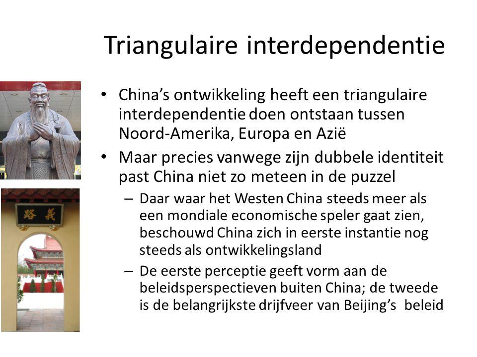 Triangulaire interdependentie China's ontwikkeling heeft een triangulaire interdependentie doen ontstaan tussen Noord-Amerika, Europa en Azië Maar pre