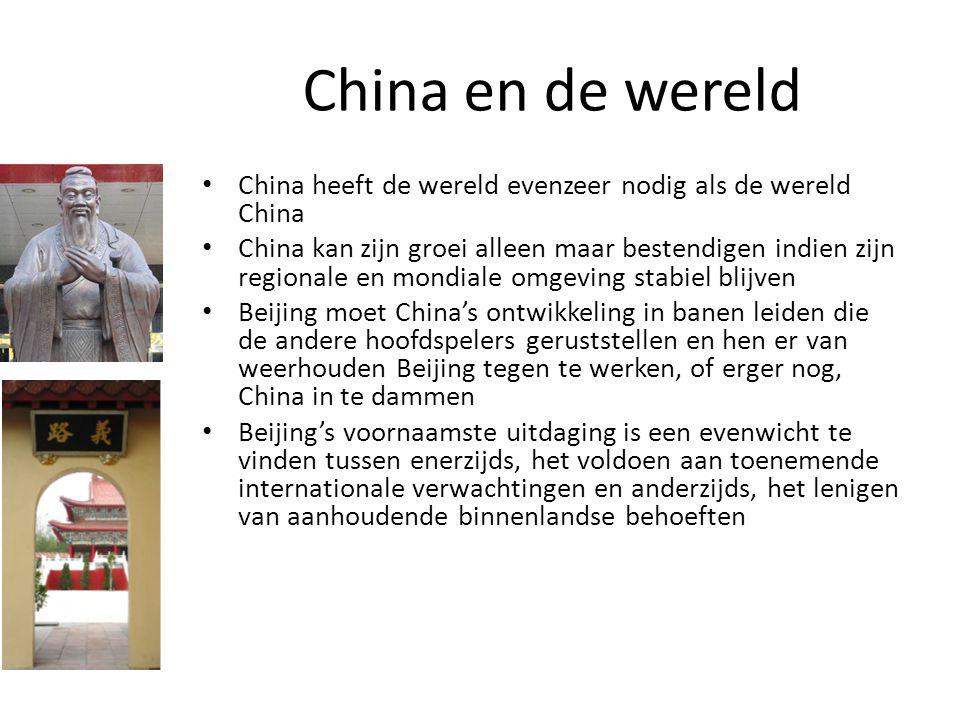 China en de wereld China heeft de wereld evenzeer nodig als de wereld China China kan zijn groei alleen maar bestendigen indien zijn regionale en mond