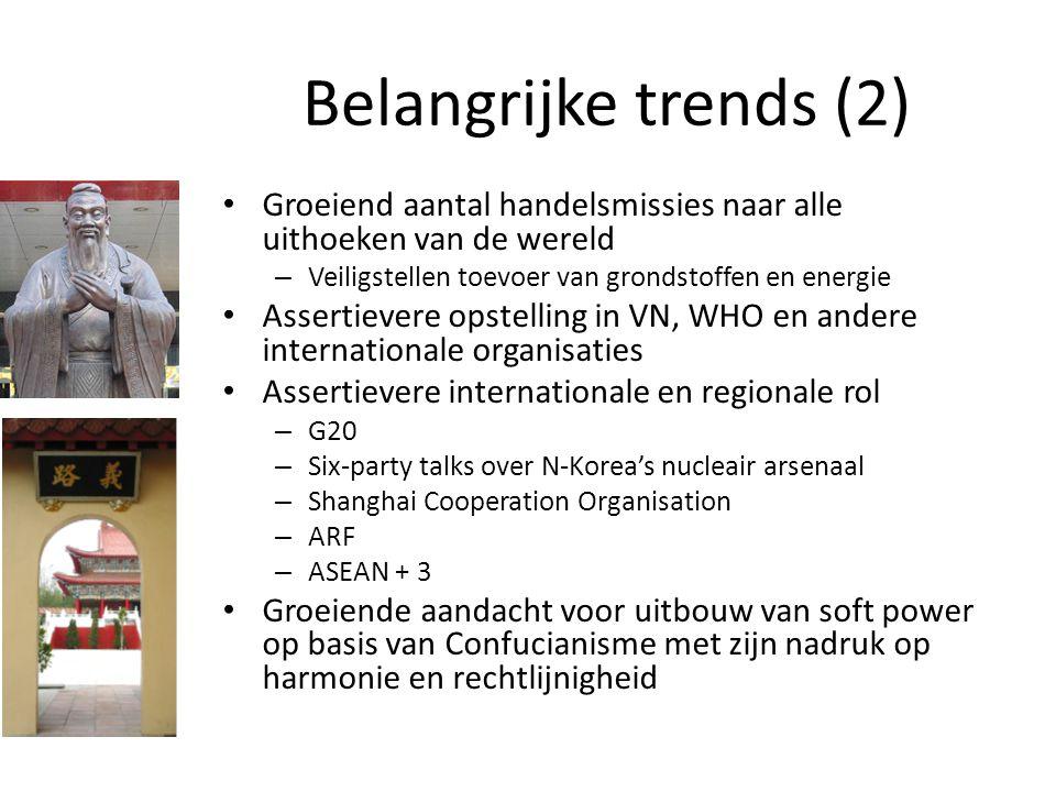 Belangrijke trends (2) Groeiend aantal handelsmissies naar alle uithoeken van de wereld – Veiligstellen toevoer van grondstoffen en energie Assertieve