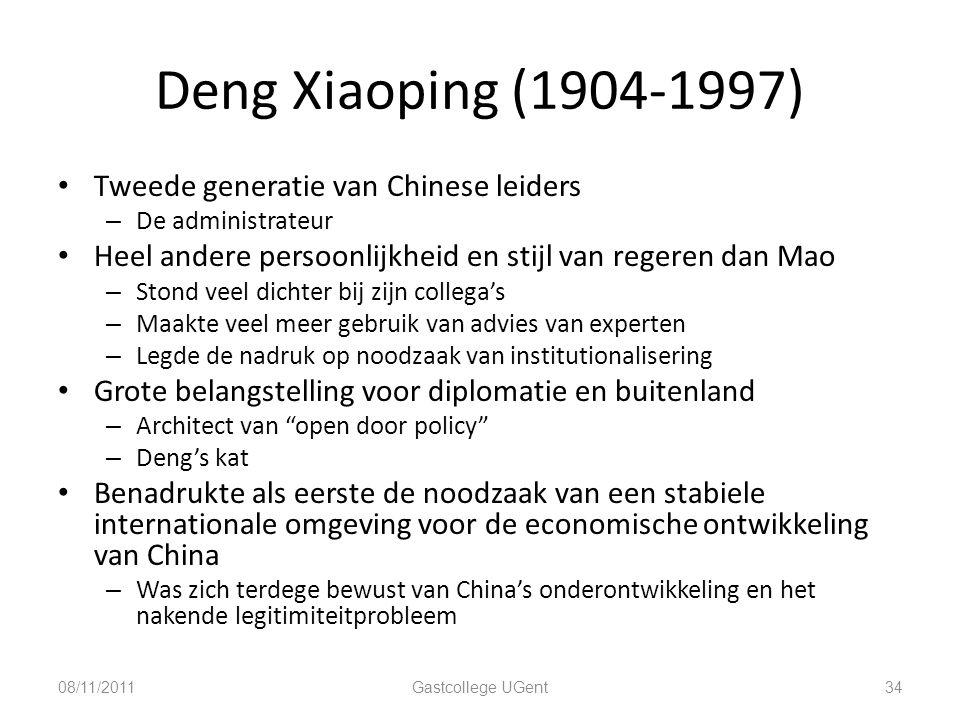 Deng Xiaoping (1904-1997) 34 Tweede generatie van Chinese leiders – De administrateur Heel andere persoonlijkheid en stijl van regeren dan Mao – Stond