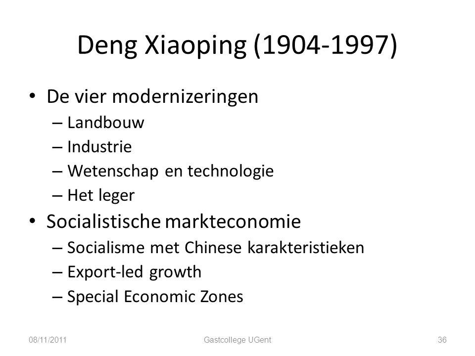 Deng Xiaoping (1904-1997) 36 De vier modernizeringen – Landbouw – Industrie – Wetenschap en technologie – Het leger Socialistische markteconomie – Soc