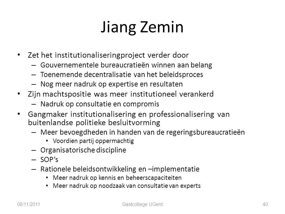 Jiang Zemin Zet het institutionaliseringproject verder door – Gouvernementele bureaucratieën winnen aan belang – Toenemende decentralisatie van het be