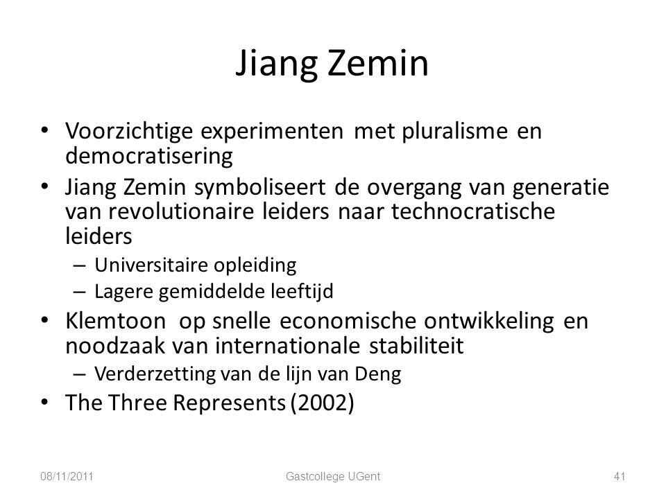 Jiang Zemin 41 Voorzichtige experimenten met pluralisme en democratisering Jiang Zemin symboliseert de overgang van generatie van revolutionaire leide
