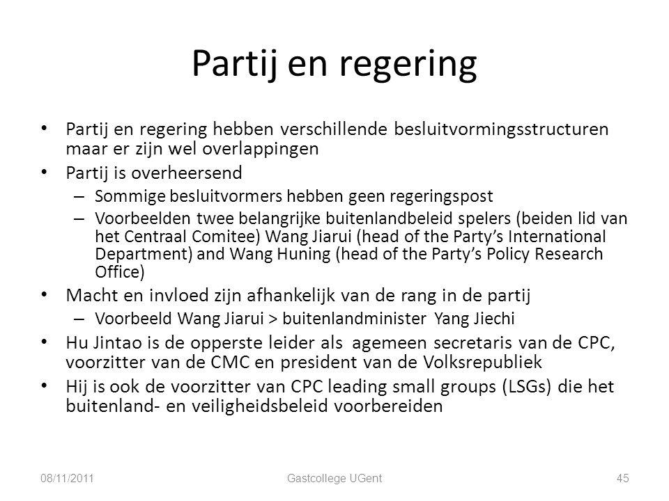 Partij en regering Partij en regering hebben verschillende besluitvormingsstructuren maar er zijn wel overlappingen Partij is overheersend – Sommige b