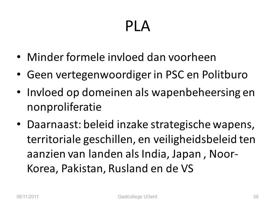 PLA Minder formele invloed dan voorheen Geen vertegenwoordiger in PSC en Politburo Invloed op domeinen als wapenbeheersing en nonproliferatie Daarnaas