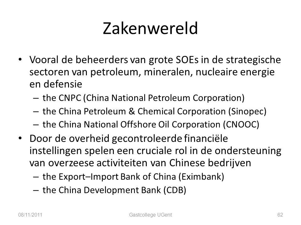 Zakenwereld Vooral de beheerders van grote SOEs in de strategische sectoren van petroleum, mineralen, nucleaire energie en defensie – the CNPC (China