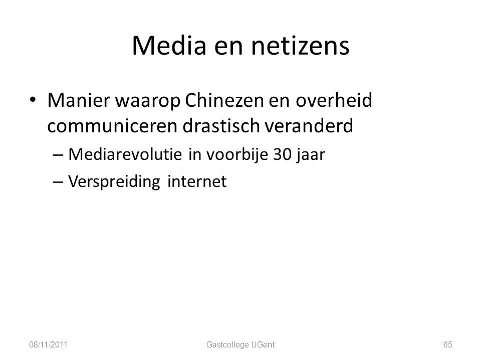 Media en netizens Manier waarop Chinezen en overheid communiceren drastisch veranderd – Mediarevolutie in voorbije 30 jaar – Verspreiding internet 08/
