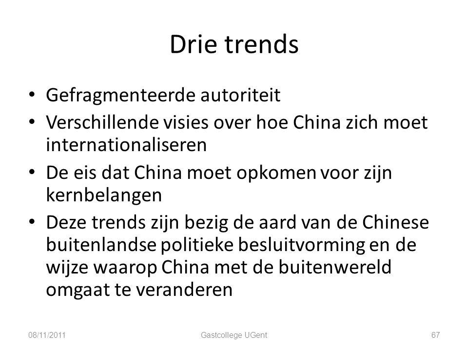 Drie trends Gefragmenteerde autoriteit Verschillende visies over hoe China zich moet internationaliseren De eis dat China moet opkomen voor zijn kernb