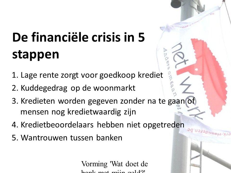 Vorming Wat doet de bank met mijn geld De financiële crisis in 5 stappen 1.