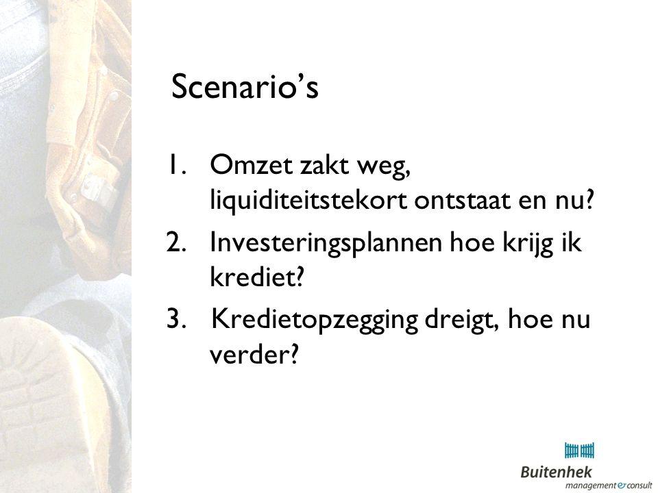 Scenario's 1.Omzet zakt weg, liquiditeitstekort ontstaat en nu.
