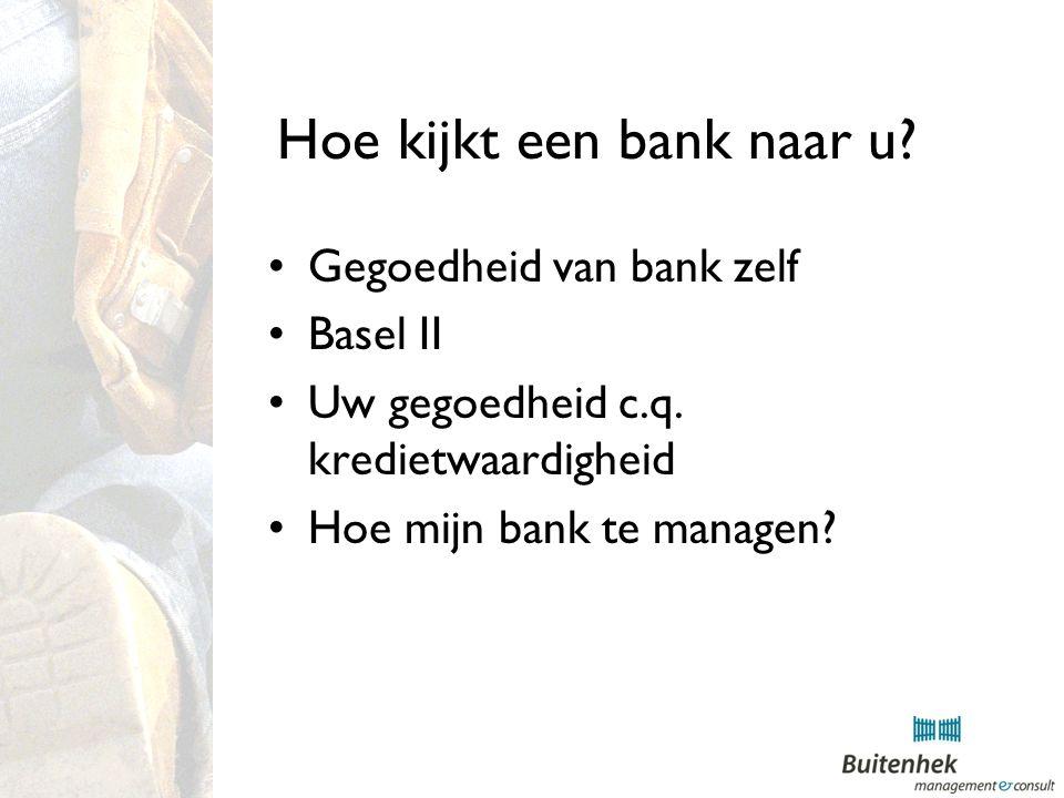 Hoe kijkt een bank naar u. Gegoedheid van bank zelf Basel II Uw gegoedheid c.q.
