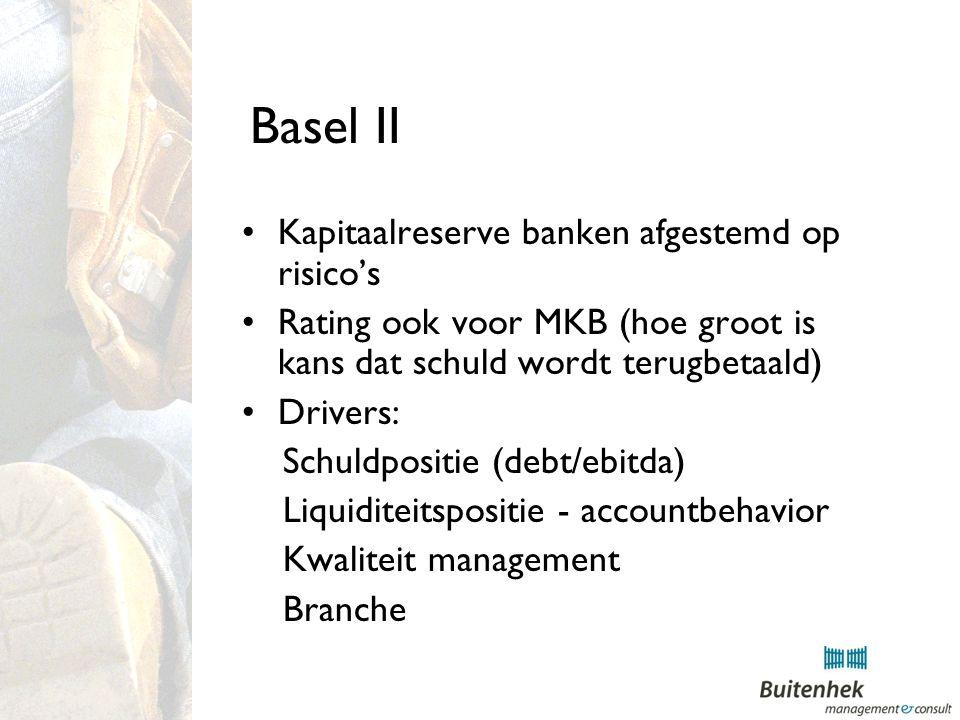 Basel II Kapitaalreserve banken afgestemd op risico's Rating ook voor MKB (hoe groot is kans dat schuld wordt terugbetaald) Drivers: Schuldpositie (debt/ebitda) Liquiditeitspositie - accountbehavior Kwaliteit management Branche