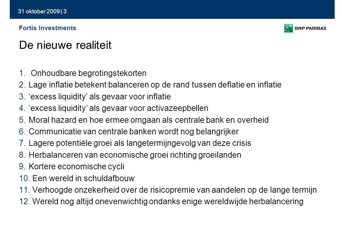 31 oktober 2009 | 34 Fortis Investments Dit document dient enkel ter informatie en is 1) geen voorstel of aanbod tot het aankopen of verhandelen van de financiële instrumenten hierin beschreven en 2) geen beleggingsadvies.
