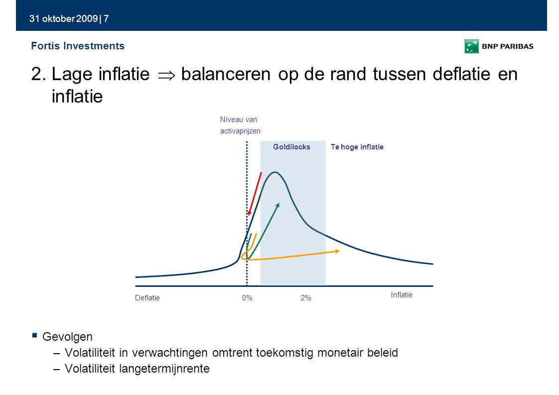 31 oktober 2009 | 8 Fortis Investments Bron: Bloomberg, ONS, BCE & Fortis Investments  Inflatie is een monetair fenomeen  Geldmassa beïnvloedt economie via transmissiekanalen  Terugkeer van inflatie vergt ontstaan 'bottlenecks' of sterke daling van de munt 3.
