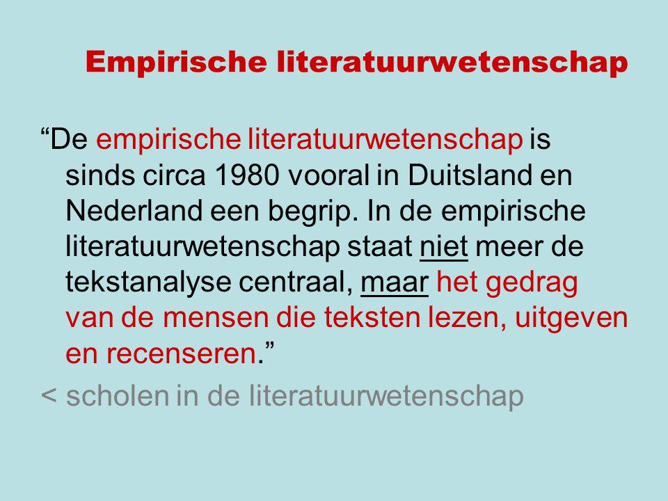 De empirische literatuurwetenschap is sinds circa 1980 vooral in Duitsland en Nederland een begrip.