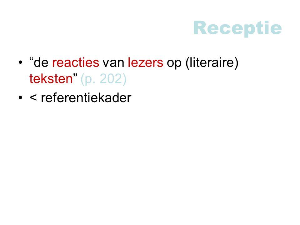 Receptie de reacties van lezers op (literaire) teksten (p. 202) < referentiekader