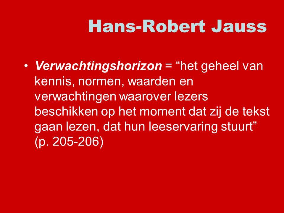 Hans-Robert Jauss Verwachtingshorizon = het geheel van kennis, normen, waarden en verwachtingen waarover lezers beschikken op het moment dat zij de tekst gaan lezen, dat hun leeservaring stuurt (p.